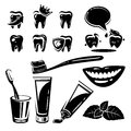 Dental element and Icons set. Vector Royalty Free Stock Image