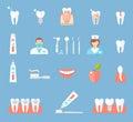 Dental Flat Icons Set. Royalty Free Stock Photo