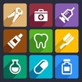 Dental flat icons set for web and mobile applications Royalty Free Stock Photo