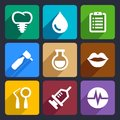 Dental flat icons set for web and mobile applications Royalty Free Stock Images