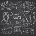 Dental health doodles icons set. Hand drawn sketch with teeth, toothpaste toothbrush dentist mouth wash and floss. vector illustra Royalty Free Stock Photo