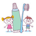 Dental hygiene kids with toothbrush and toothpaste illustration Stock Photo