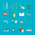 Dental hygiene medical concept flat style with cross section healthy tooth care icons vector. Royalty Free Stock Photo