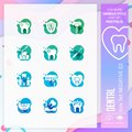 Dental icon set vector with negative on colorful concept. Dental clinic icon for website element, app, UI, infographic, print