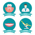 Dental icons with doctor, smile, teeth and medicinal chair
