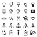 Dental icons set element emergency extraction Stock Images