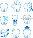 Dental icons vector designs isolated on white background format very easy to edit individual objects no gradients only solid Royalty Free Stock Images