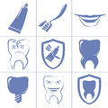 Dental icons for websait simple blue signs Royalty Free Stock Photo