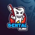 Dental mascot logo design vector with modern illustration concept style for badge, emblem and t shirt printing. dental