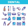 Dental Services, Stomatology Linear Vector Icons Set