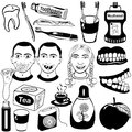 Dental set of different related vector black icons Stock Photos