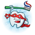 Dental tooth super hero mascot cartoon character with toothbrush a the defender of hygiene everywhere Royalty Free Stock Photos