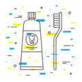 Dental toothbrush with toothpaste tube linear vector illustration tooth care technology creative concept healthy tooth Royalty Free Stock Photography