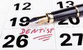 Dentist appointment marked n calendar with fountain pen Stock Images