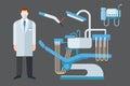 Dentist chair stomatology equipment vector illustration. Royalty Free Stock Photo