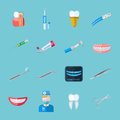 Dentist  Flat Icons Royalty Free Stock Photo