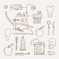 Dentist icon vector set of icons and teeth care Royalty Free Stock Images