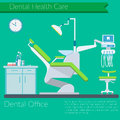Dentist office flat design Vector illustration with Dental care items, teeth, tooth paste, brush, dentist chear on color backgroun Royalty Free Stock Photo
