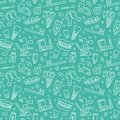Dentist, orthodontics blue seamless pattern with line icons. Dental care, medical equipment, braces, tooth prosthesis