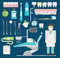 Dentist symbols vector set health care medicine and chemical engineering symbols Royalty Free Stock Photo