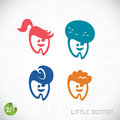 Dentist symbols vector with sticker Royalty Free Stock Images