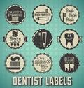 Dentista labels do vintage e ícones Imagens de Stock Royalty Free