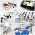 At the dentists collage of equipment in a modern office Royalty Free Stock Images