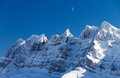 Dents du midi moon beautiful mountains of the in the european alps with the above them Stock Image
