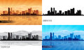 Denver city skyline silhouettes set vector illustration Stock Photos