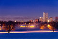 Denver Colorado Skyline in Snow Feb 2013 Stock Photos