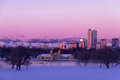 Denver Colorado Skyline in Snow Feb 2013 Stock Image
