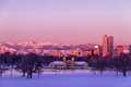 Denver Colorado Skyline in Snow Feb 2013 Royalty Free Stock Image