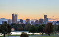 Denver downtown skyline at sunset Royalty Free Stock Photos