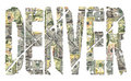Denver grunge text with dollars Royalty Free Stock Photography