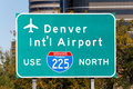 Denver international airport an interstate highway sign marking the way to the in colorado Stock Photo