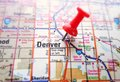 Denver map closeup of a of with red push pin Stock Images