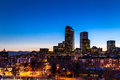Denver Skyline at Blue Hour Mar 2013 Stock Image