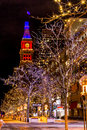 Denver th street mall in orange and blue colorado usa january special light display along s with historic landmark daniel fisher Stock Photography