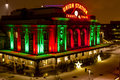 Denver union station holiday lights historic landmark in downtown colorado decorated with on snowy winter night Royalty Free Stock Image