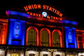 Denver union station in orange and blue colorado u s a january special light display at s historic train depot for nfl broncos Royalty Free Stock Photography