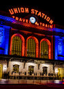 Denver union station in orange and blue colorado u s a january special light display at s historic train depot for nfl broncos Stock Photos