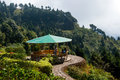 Deolo hill view point a breath taking landscape of park tourist kalimpong darjeeling india on green backdrop and blue sky Stock Image
