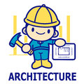 Department of construction engineering mascot education and lif life character design series Royalty Free Stock Photography