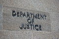 Department of justice sign on the exterior identifies the Royalty Free Stock Image