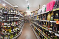 Department with shelves with alcohol beverages moscow dec in supermarket of home food bahetle december moscow russia Royalty Free Stock Image