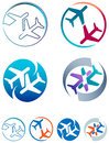 Departure and arrivals isolated emblem design set Stock Image