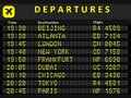 Departure board destination airports busiest airports in the world beijing atlanta london new york frankfurt dubai chicago tokyo Stock Images