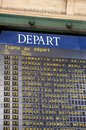 Departure board at a paris train station schedule the gare du nord in france Stock Photography
