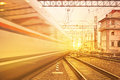 Departure of high speed train. Royalty Free Stock Photo
