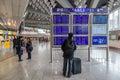 Departures information board at the airport frankfurt international december in frankfurt main germany Stock Images